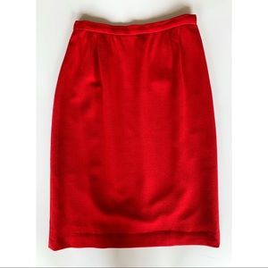 Valentino Boutique Red Side-Zip Pencil Skirt